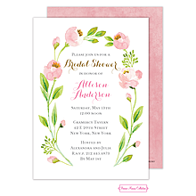 Pink Botanical Wreath Foil Invitation