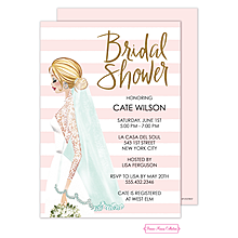 Vintage Bride Stripes Foil Invitation