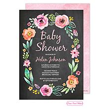Watercolor Blossom Wreath (Chalkboard) Invitation
