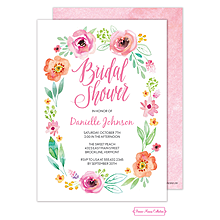 Watercolor Blossom White Invitation