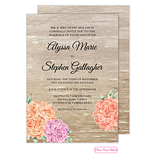 Wood Floral Invitation