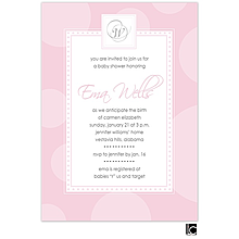 Pink circle baby shower invitation