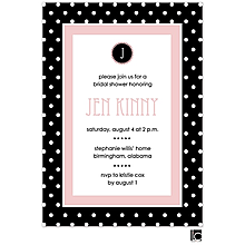 Black and white polka dotted bridal shower invitation