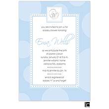 Blue circle baby shower invitation