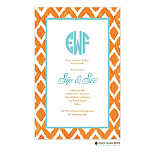 Ikat - Orange Invitation