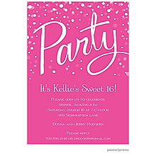 Party Hot Pink Invitation