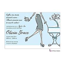 Tea Mom Blue Invitation