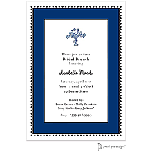 Antique Bead Border Navy Invitation