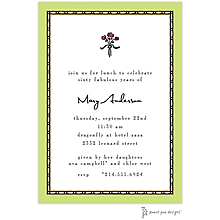 Rice Bead Border Lime Invitation
