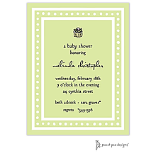 White Dotted Border Lime Invitation