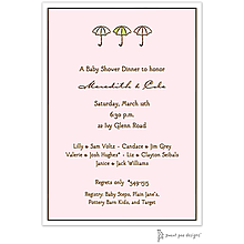 Classic Edge White & Chocolate On Pink Invitation