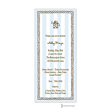 Stripes & Lace Blue Invitation