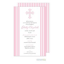 Striped Cross Invitation - Edge Border - Pink