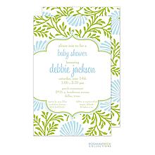 Lime Floral Invitation - Blue