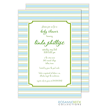 Preppy Stripe Invitation - Blue