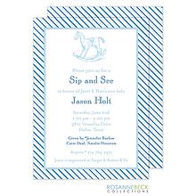 Oxford Blue Stripe Invitation - Rocking Horse
