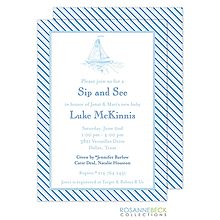 Oxford Blue Stripe Invitation - Boat