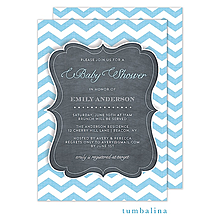 Chevron Chalkboard Baby Blue Invitation