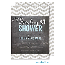 Chevron Chalkboard Glitter Baby Blue Invitation