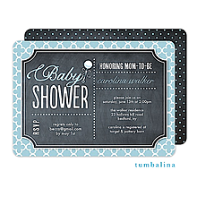 Rattle Baby Chalkboard Blue Invitation