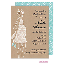 Kraft Baby Blue Shower Invitation