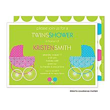 Twin Buggies Shower Invitation