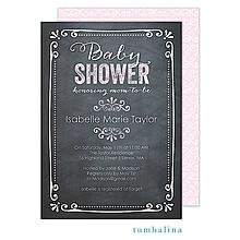 Chalkboard Baby Pink Invitation