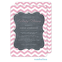 Chevron Chalkboard Baby Pink Invitation