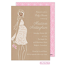 Kraft Baby Pink Shower Invitation