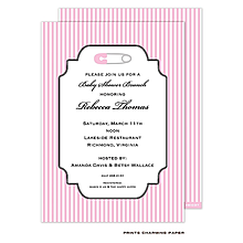Sweet Safety Pin Shower Invitation