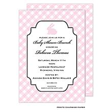 Pink Polka Dot Bunny Invitation