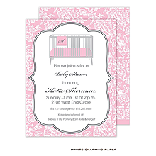 White Floral Damask on Pink Sweet Petite Invitation