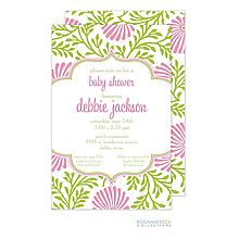 Lime Floral Invitation - Pink