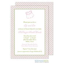 Oxford Pink & Green Stripes Invitation - Dress