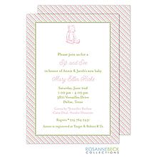 Oxford Pink & Green Stripes Invitation - Bear