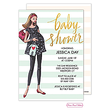 Modern Mom Stripes Invitation