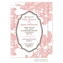 Woodcut Floral Invitation - Coral