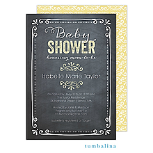 Chalkboard Baby Yellow Invitation