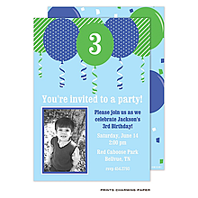 Blue Balloon Birthday Photo Invitation