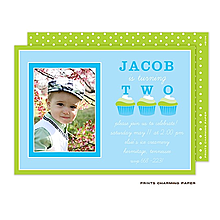 Blue Cupcake Flat Photo Invitation