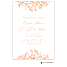 Border invitation: Bouquet Border Foil Pressed Invitation
