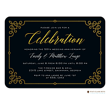 Anniversary Invitation: Fancy Foil Frame Foil Pressed Invitation