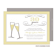 Anniversary Invitation: Gold on Grey Champagne Toast Invitation