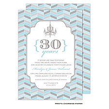 Anniversary Invitation: Blue and Grey Chevron Mosaic Invitation