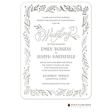 foil press invitation: Gleaming Leaf Foil Pressed Invitation
