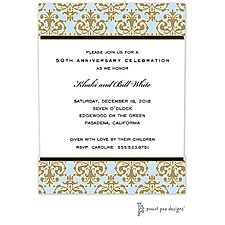 Anniversary Invitation: Medallion Damask Blue & Gold Invitation