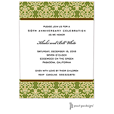 Anniversary Invitation: Medallion Damask Green & Gold Invitation