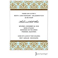 Anniversary Invitation: Medallion Damask Aqua & Gold Invitation