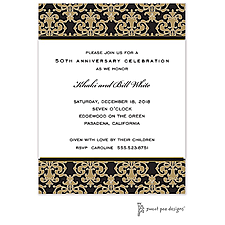 Anniversary Invitation: Medallion Damask Black & Gold Invitation