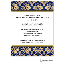 Anniversary Invitation: Medallion Damask Navy & Gold Invitation
